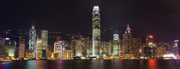Hong Kong Island panorama at night