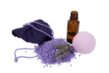 Fototapety Bottle of lavender essential oil and spa salt bomb isolated