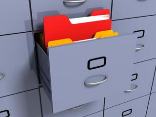 information folder in office cabinet
