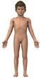 Naked boy in anatomical position isolated