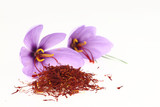 Fototapety Dried saffron spice and Saffron flowers