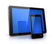 Modern digital pad and phone  with blue screen isolated