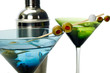 Martinis in a blue glass and a green glass