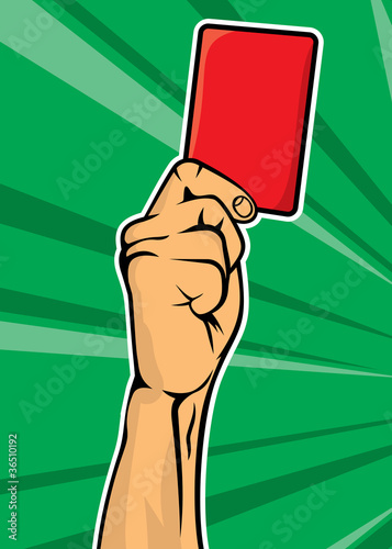 Soccer referee hand with red card