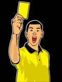 Soccer referee giving yellow