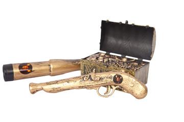 Pirate attributes treasure, gun and binocular isolated on white
