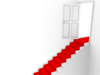 Stairs door and red carpet