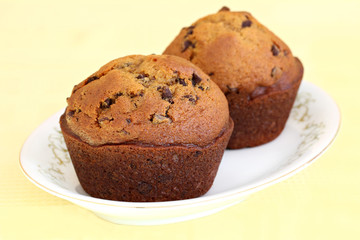 Pumpkin Chocolate Chip Muffins in Macro with Selective Focus
