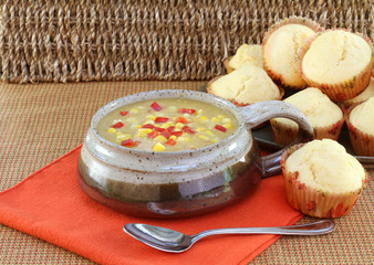 Delicious corn chowder and corn muffins.