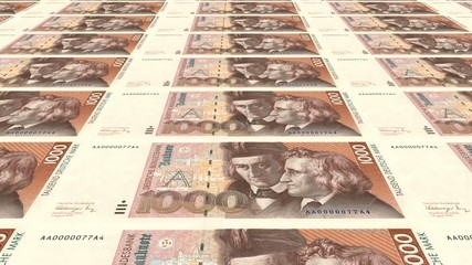 1000 DM Banknoten endlos