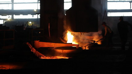 Putting iron in the furnace, melting