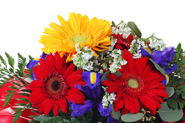 Colorful flower bouquet  isolated on white