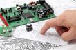 Leinwandbild Motiv Electronic circuit boards on the background of electronic scheme