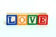 The word love in alphabet blocks