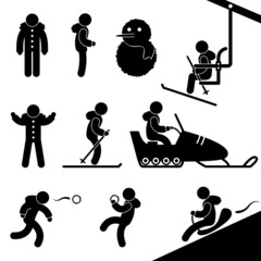 Winter Activity Chairlift Skiing Snowmobile Snow Fight Sledding