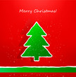 Christmas card with ripped paper tree. Vector.