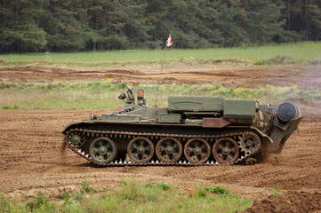 offroad scenery with driving tank