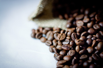 coffee beans from burlap sack