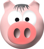 Pink pig with big snout poster