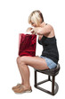 Beautiful Woman Opening Gift