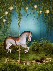 Magiczny ogród z koniem z karuzeli