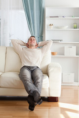 Portrait of a happy man relaxing on a couch