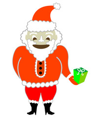 Happy Santa with a Present! Vector / Clip Art