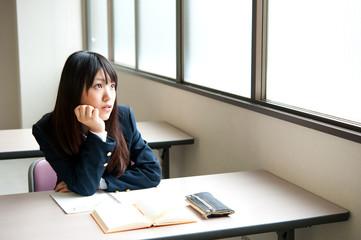 asian high schoolgirl in the classroom