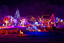 """Постер, картина, фотообои """"Christmas fantasy - trees and houses in lights"""""""