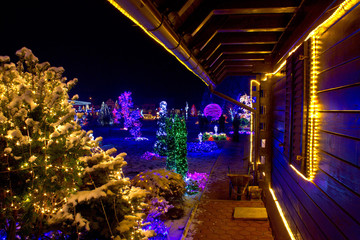 Christmas fantasy - trees and wooden house in lights