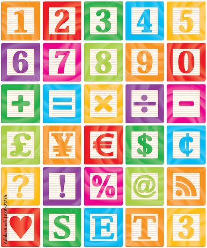Wall mural Baby Blocks Set 3 of 3 - Numbers, Maths, Currencies & Symbols