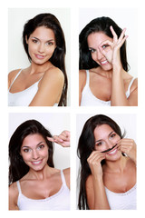 Jeune femme brune souriante