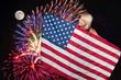 Woman at Fireworks at Full Moon