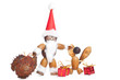 santa claus and angle made of chestnuts,acorns and beechnuts