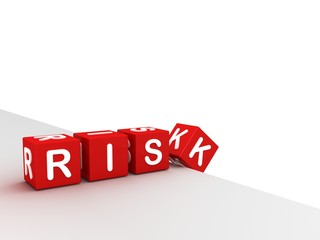 business risk concept. falling blocks