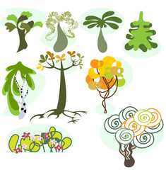 A cartoon vector illustration set of nine different trees.