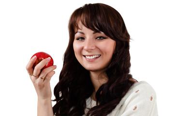 Girl with  red apple.
