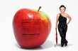 Middle Aged Woman with Red Delicious Apple with Nutrition Label