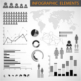 Vector Black and white set of Infographic elements poster
