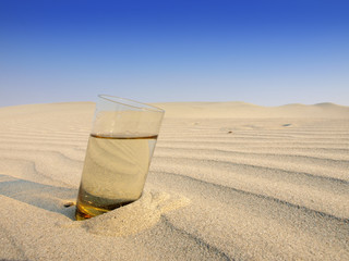 glasses of water in the desert
