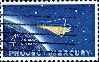 Project Mercury. U.S Man in the space. Us Postage.