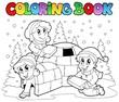 Coloring book winter scene 1