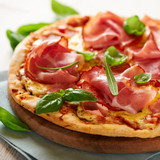 Fototapety Pizza with dry cured ham and basil