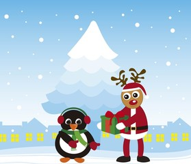 penguin and reindeer christmas