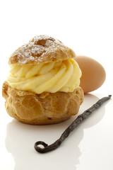 Choux à la crème et ingrédients