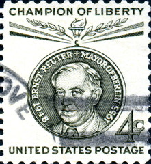 Ernst Reuter. Mayor of Berlin. Champion of Liberty. US Postage.