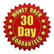 30 day money back guaranteed , isolated on white