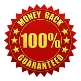Money back guaranteed,red and gold warranty label poster