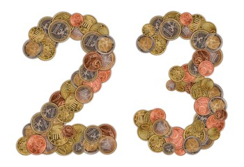 Numbers 0 and 1 made of Euro coins
