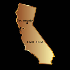 Gold california state map